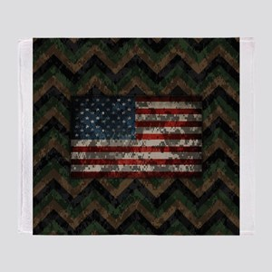 Marine Patriotic Camo Chevrons American Flag Throw