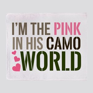 Im the Pink in his Camo World Throw Blanket
