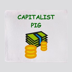 capitalist pig Throw Blanket