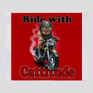 Ride with Cattitude Throw Blanket