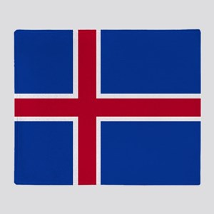 Square Icelandic Flag Throw Blanket