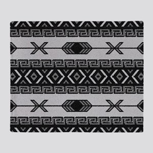 b09a0c420 Black And White Aztec Pattern Throw Blanket