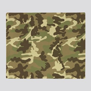 Green Camouflage Pattern Throw Blanket