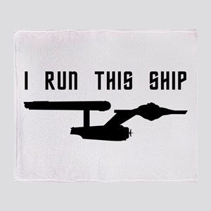 I Run This Ship Throw Blanket