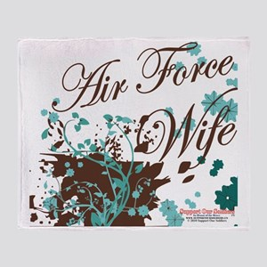 Air Force wife flower brown Throw Blanket