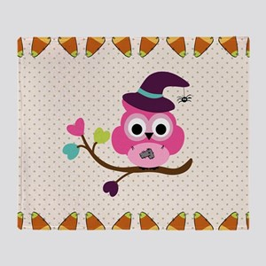 Cute Halloween Owl Throw Blanket
