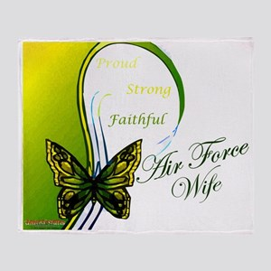 air force wife butterfly greenyellow Throw Blanket