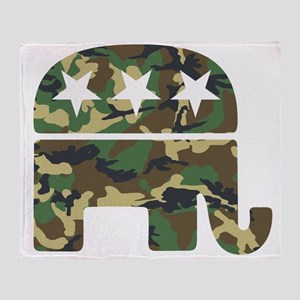 Republican Camo Elephant Throw Blanket