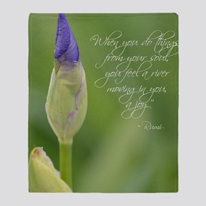 Iris with Rumi Quote Throw Blanket