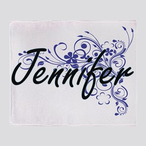 Jennifer Artistic Name Design with F Throw Blanket