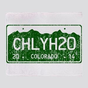 Chilly Water Colorado License Plate Throw Blanket