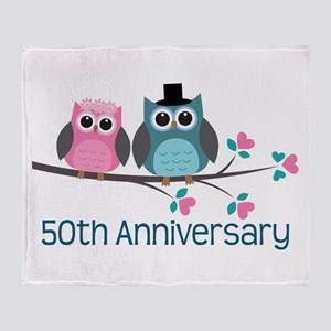 50th Anniversary Owl Couple Throw Blanket