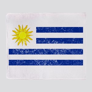 Distressed Uruguay Flag Throw Blanket