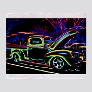 1940 Ford Pick up Truck Neon Throw Blanket