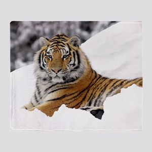 Home Decor Tiger In Snow Throw Blanket