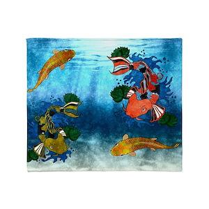 f2aab0bff669c9 Koi Fish Blankets - CafePress