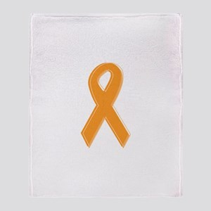 Orange Aware Ribbon Throw Blanket