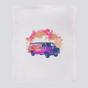 Retro Hippie Van Grunge Style Throw Blanket