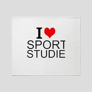 I Love Sports Studies Throw Blanket
