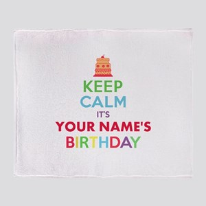 Personalized Keep Calm Its My Birthday Throw Blank