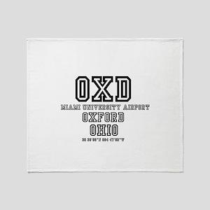 UNIVERSITY AIRPORT CODES - OXD - MIA Throw Blanket