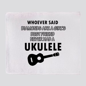 Ukulele Design better than Diamonds Throw Blanket