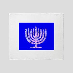 Hanukkah Menorah Blue Stadium Throw Blanket