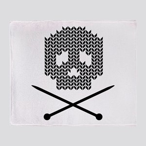 Knit Skull and Crossbones Throw Blanket