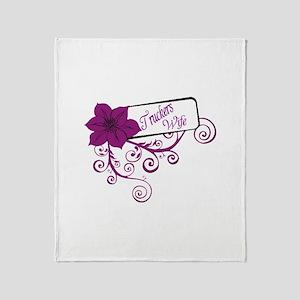 Trucker's Wife Purple Flower Throw Blanket