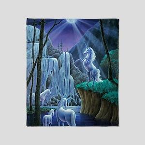 Unicorns in the Moonlight large post Throw Blanket