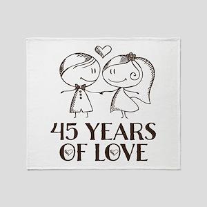 45th Anniversary chalk couple Throw Blanket