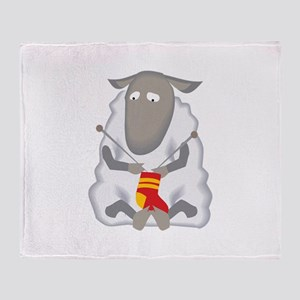 Sheep Knitting Sock Throw Blanket