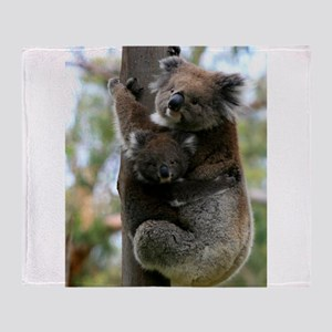 Australian Koala Mother and Baby Throw Blanket