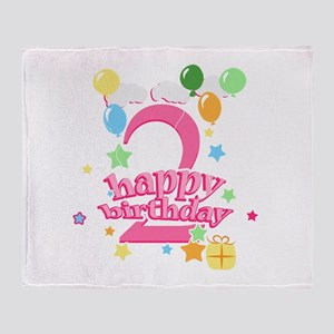 2nd Birthday with Balloons - Pink Throw Blanket