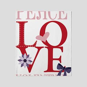Peace Love Valentine Throw Blanket