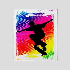 Skateboarding on Rainbow Grunge Back Throw Blanket