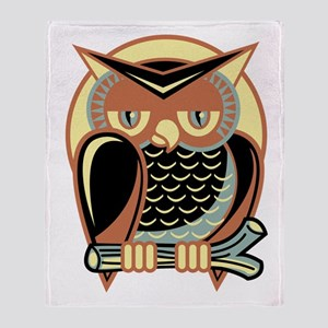 Retro Owl Throw Blanket