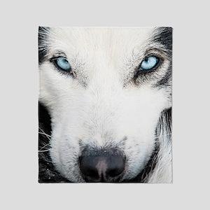 Blue Eyed Husky Throw Blanket
