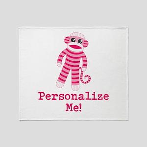 Pink Sock Monkey Throw Blanket