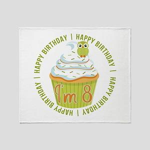 8th Birthday Cupcake Throw Blanket
