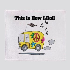 How I Roll (Hippie Bus/Van) Throw Blanket