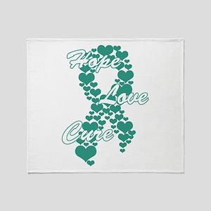 Peace Love Cure Yudu Teal Throw Blanket