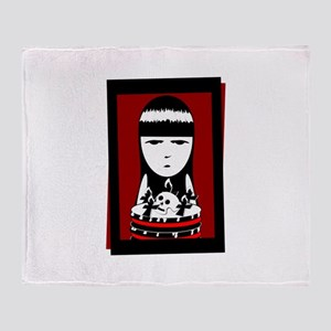 Goth Girl Throw Blanket