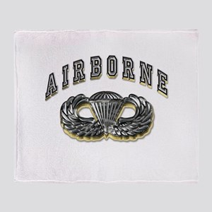 US Army Airborne Wings Silver Throw Blanket
