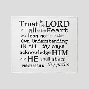 Proverbs 3:5-6 KJV Dark Gray Print Throw Blanket