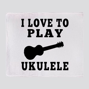 I Love Ukulele Throw Blanket