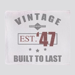 Vintage 1947 Birth Year Throw Blanket