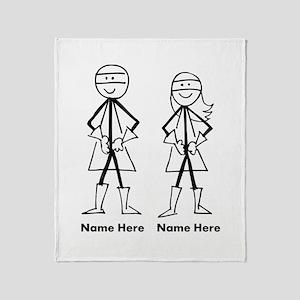 Super Stick Figure Couple Throw Blanket