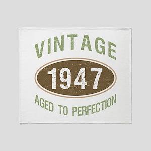 Vintage 1947 Birthday Throw Blanket