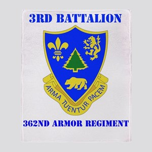 3-362 ARMOR RGT WITH TEXT Throw Blanket